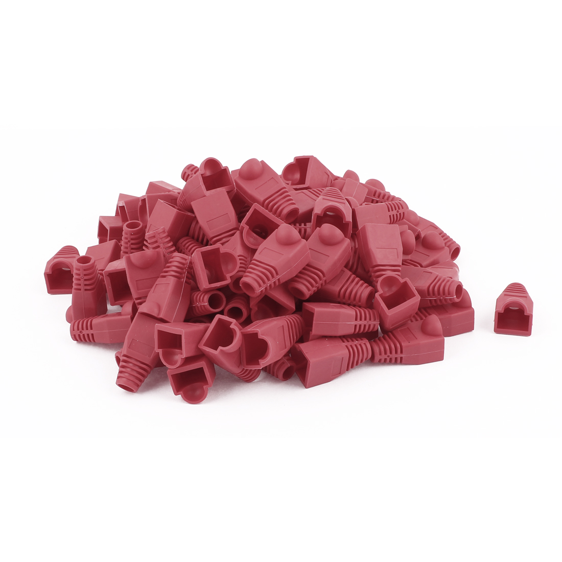 100pcs Red Plastic RJ45 8P8C Cat5 Network Cable Connector Boot Cap Cover Protector
