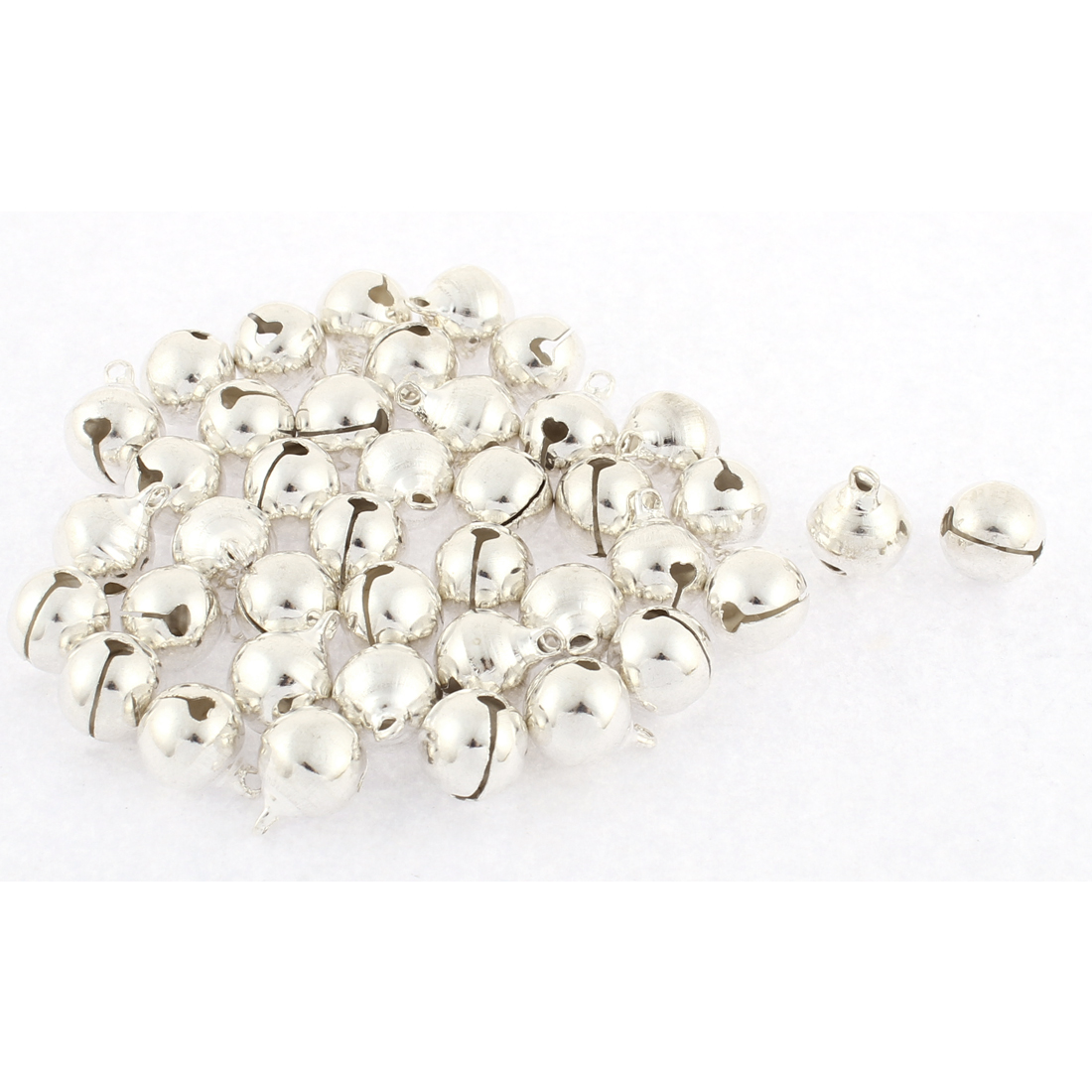 40pcs 12mm Dia Metal Party Christmas Tree Decor Ring Jingle Bells Ornaments Adorned Silver Tone