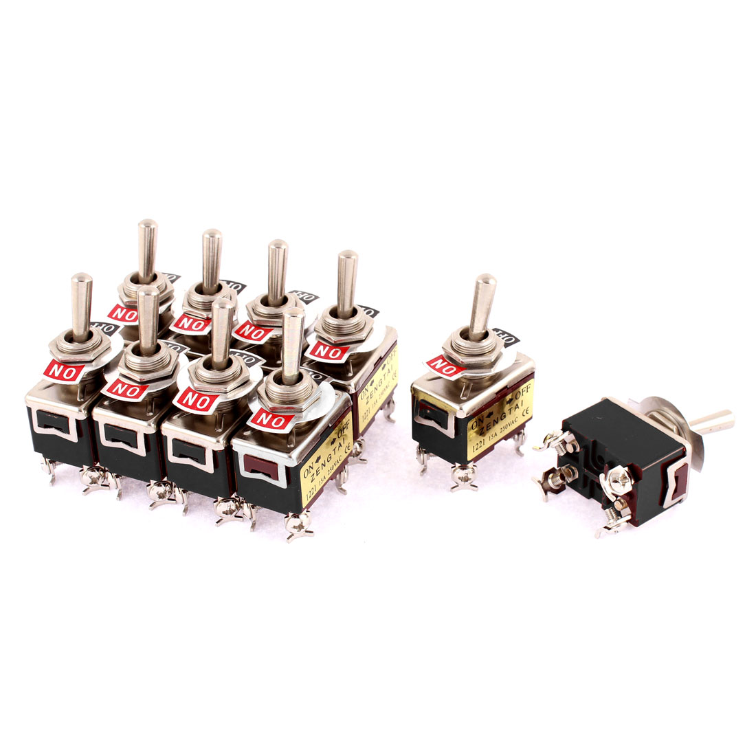 10pcs AC 250V 15A 4 Screw Terminals M12 Thread Panel Mount DPST 2 Position ON/OFF Latching Toggle Switch