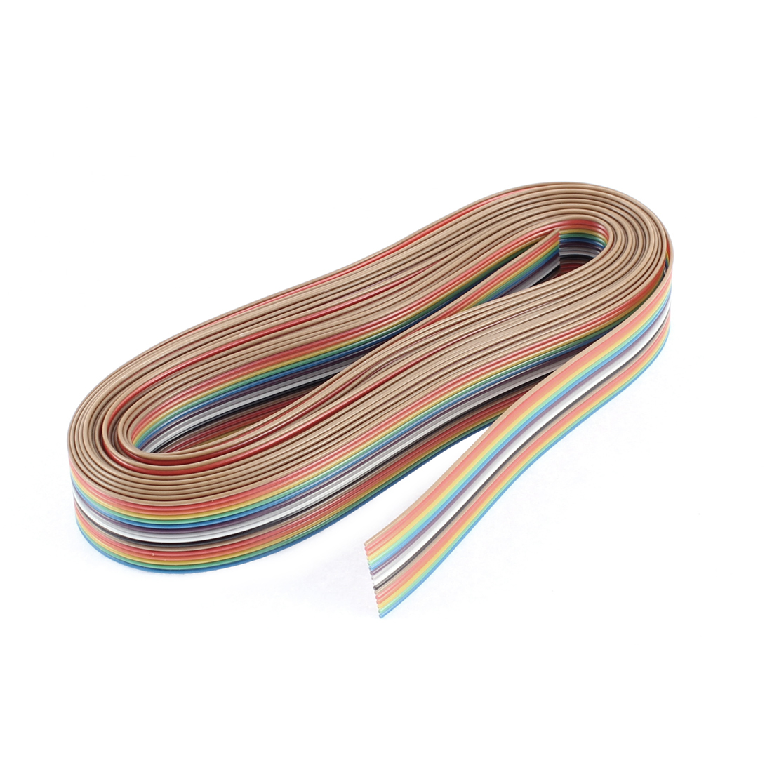 4.7M 15ft Long 2cm Width 1.27mm Pitch 16-Pin Conductor Rainbow Color Flat Ribbon Cable IDC Wire