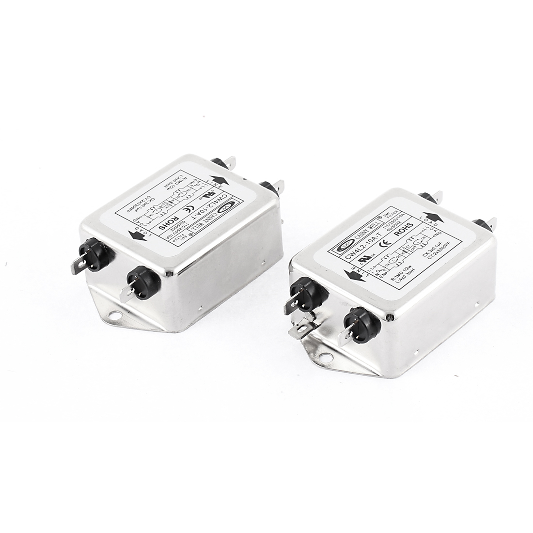 2pcs CW4L2-10A-T 115V/250V 60/50Hz 10A AC Power Single Phase Noise Line EMI Filter