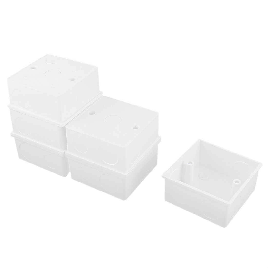 6pcs 86mm x 86mm x 39mm White PVC Single Gang Mount Back Box for Wall Socket