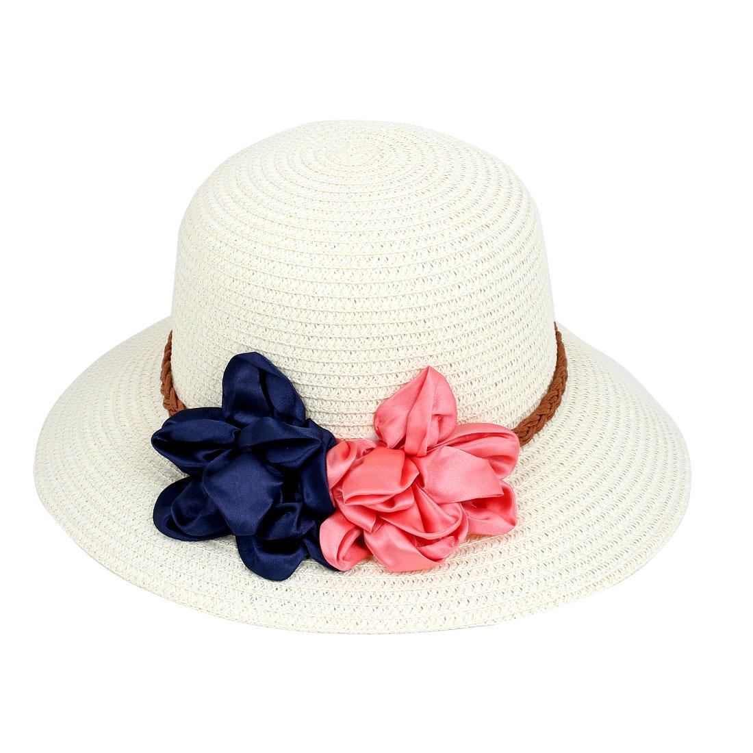 Lady Women Vacation Summer Beach Sun Floppy Wide Brim Floral Straw Hat Off White