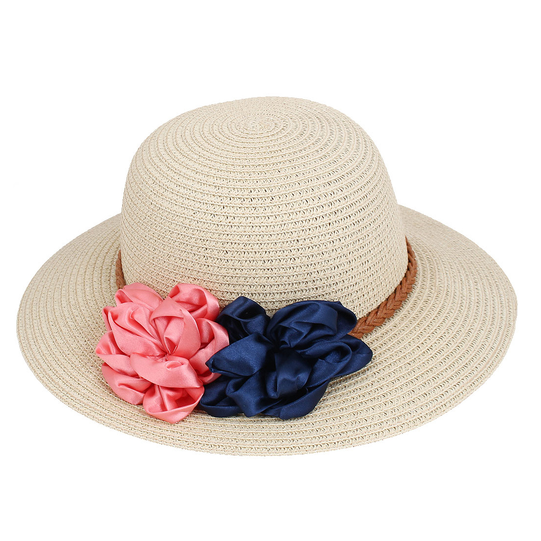 Lady Women Vacation Summer Beach Sun Floppy Wide Brim Floral Straw Hat Beige
