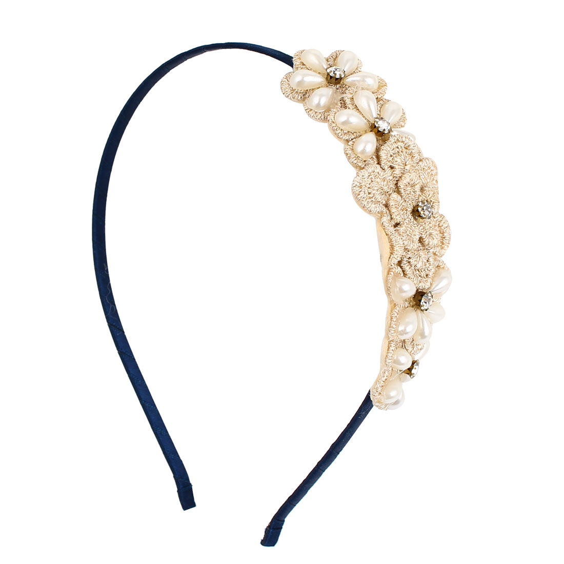 Flower Imitation Pearl Rhinestone Decor Fashion Hairband Headband Hair Hoop Beige Black