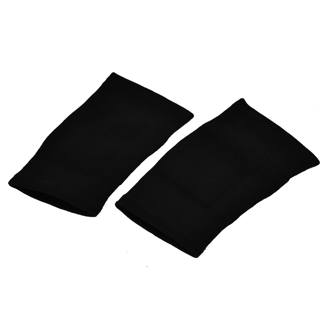 Athletic Gym Sports Protection Elastic Knee Support Sleeve Brace Pair Black