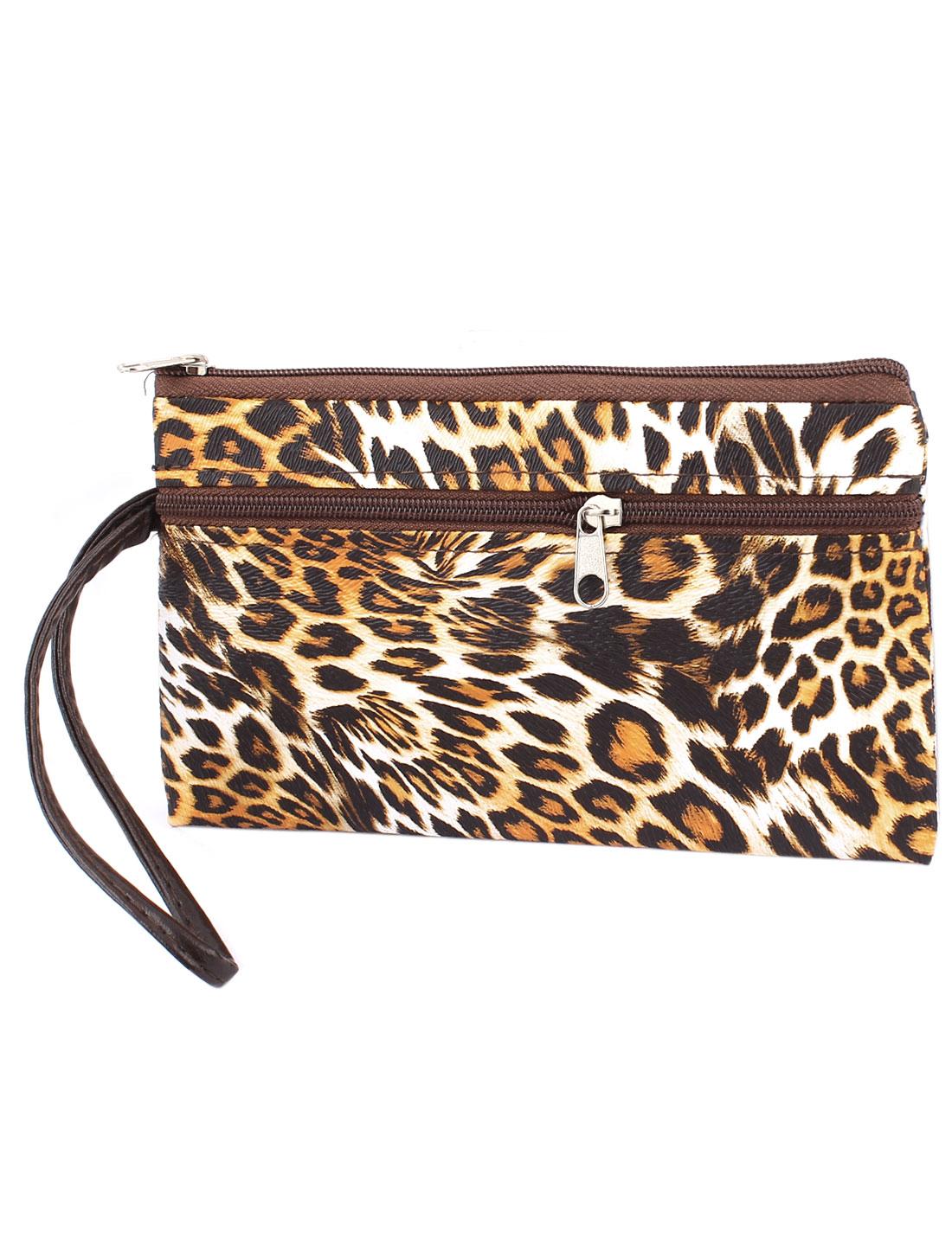 Lady Women Zip Up Faux Leather Leopard Prints Handbag Purse Mixed Color w Strap