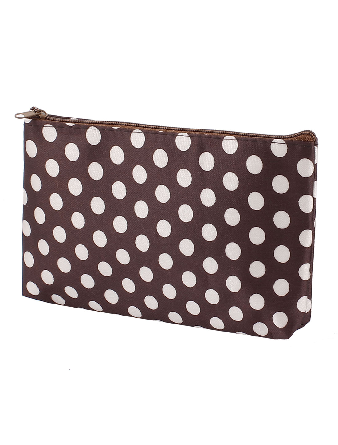 Lady Zip Up Dots Print Nylon Handbag Purse Pouch Cosmetic Bag Coffee Color White