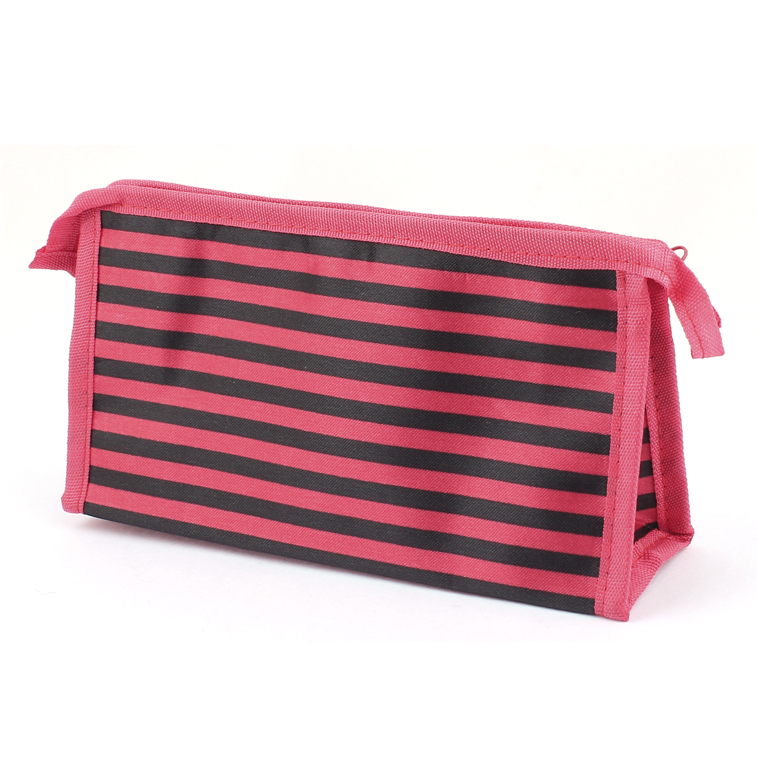 Travel Zip Up Striped Nylon Cosmetic Makeup Storage Bag Handgbag Pouch Black Red