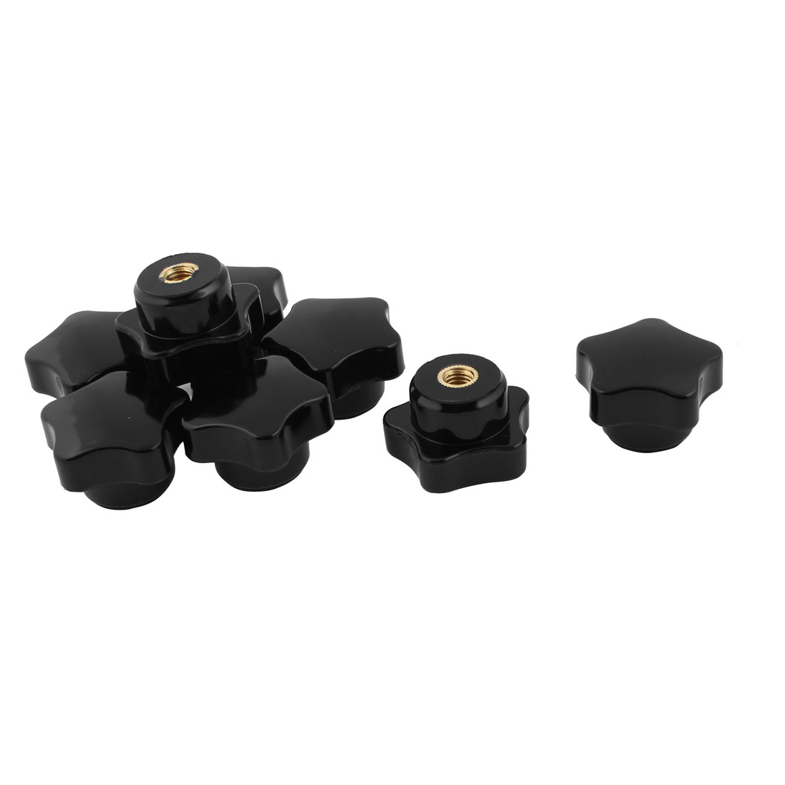 5mm Female Thread Plastic Star Head Screw Clamping Knob Handle Grip Black 8pcs