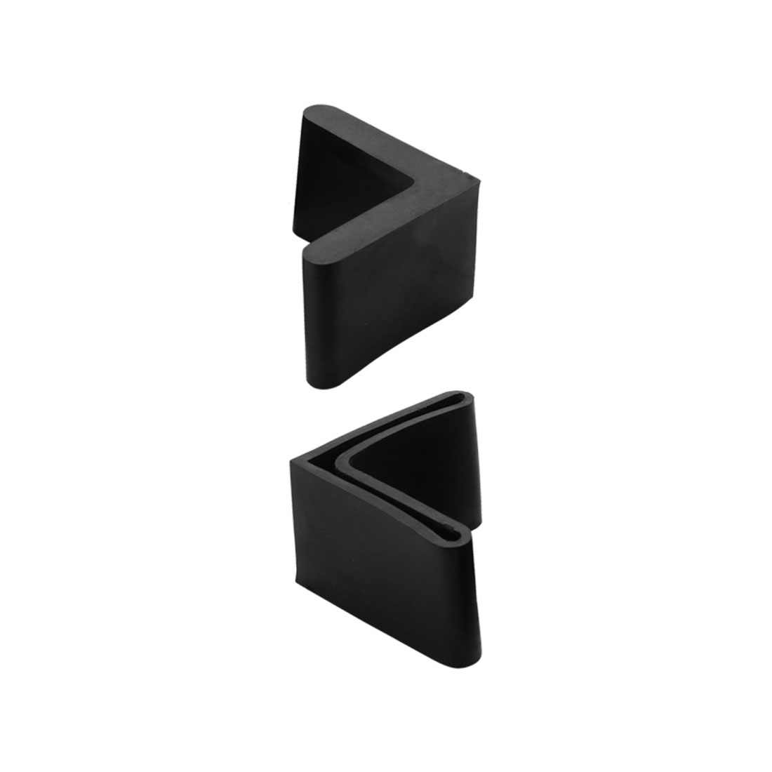 30mm x 30mm L Shaped Angle Iron Leg Foot Rubber Cover Cap Protector Black 2pcs