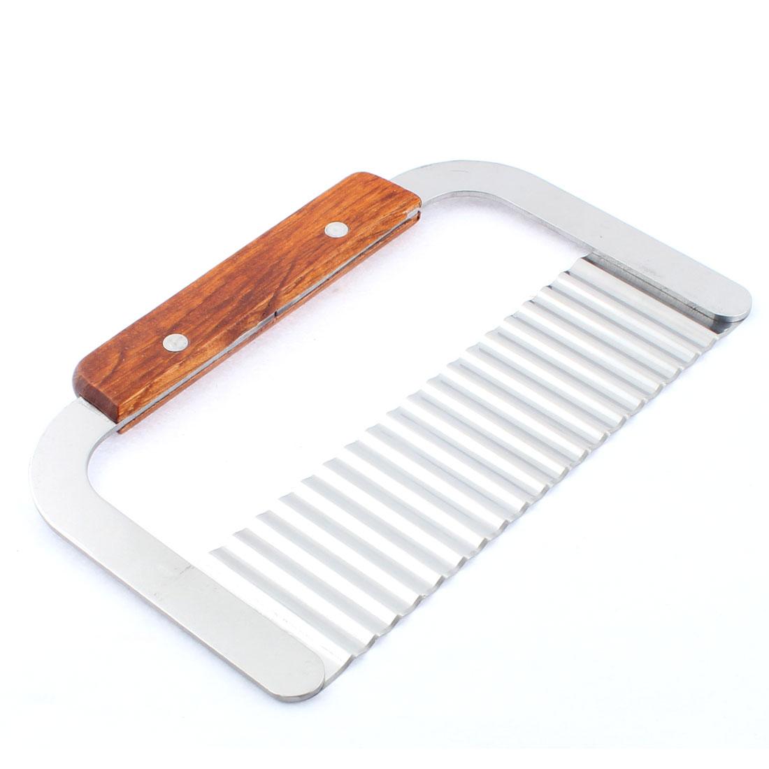 18.5cm Long Wooden Handle Potato Chip Dough Vegetable Wave Slicer Crinkle Cutter