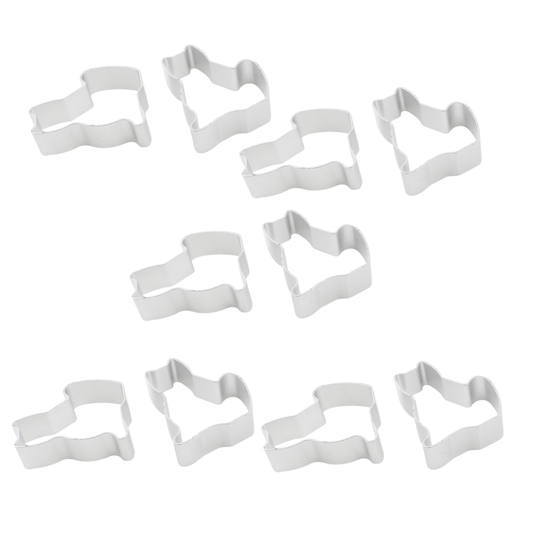 Cat Shaped Cookie Biscuit Cake Bread DIY Baking Cutter Mold Silver Tone 10pcs