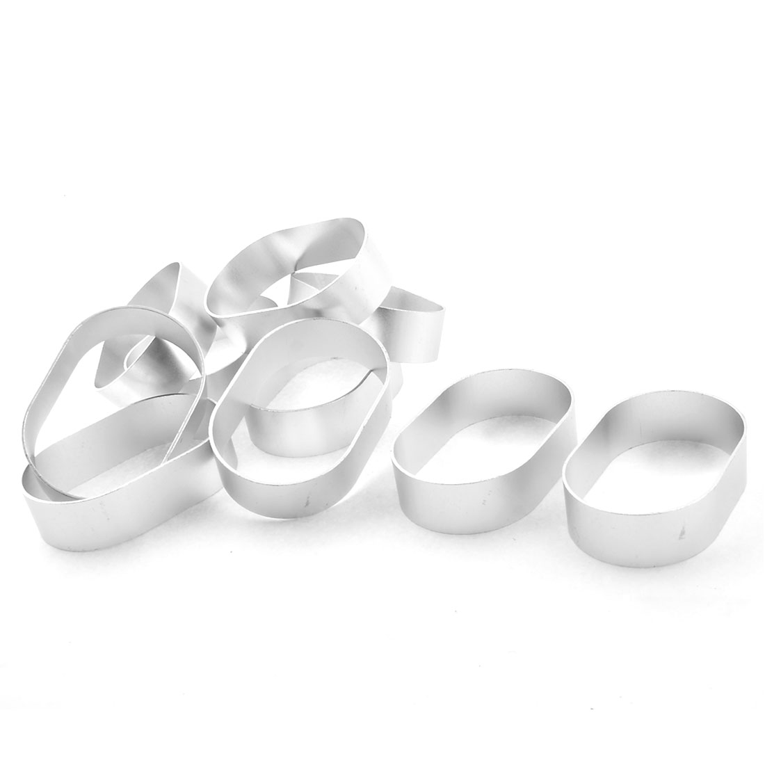 Oval Shaped Cookie Biscuit Cake Bread DIY Baking Cutter Mold Silver Tone 10pcs