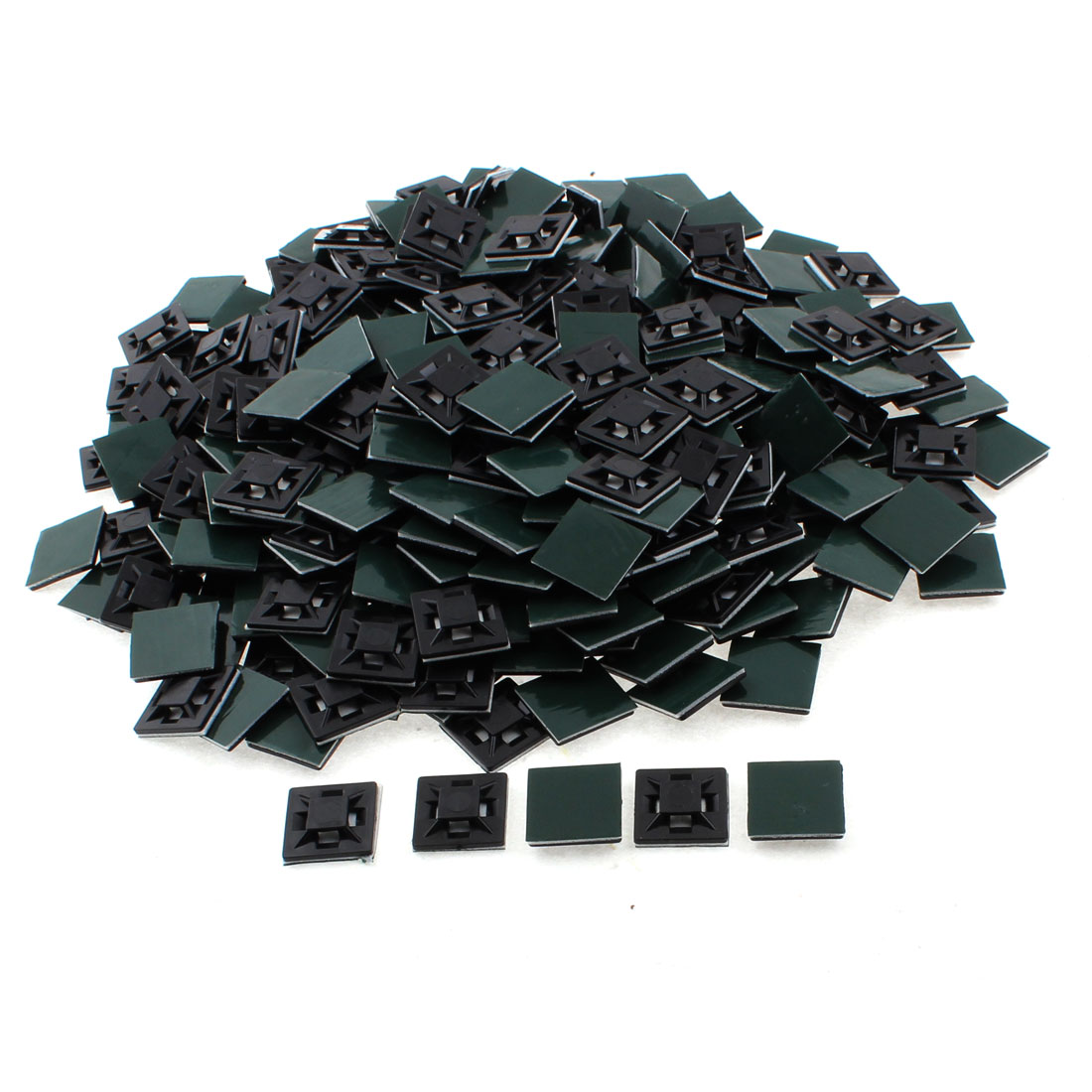 21mm x 21mm x 5mm Square Self Adhesive Cable Tie Mount Base Holder Black 300pcs