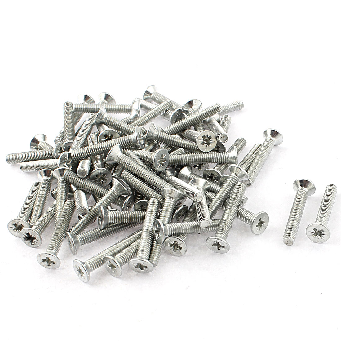 25mm x 4mm Countersunk Flat Head Cross Phillips Screw Bolt Silver Tone 70pcs