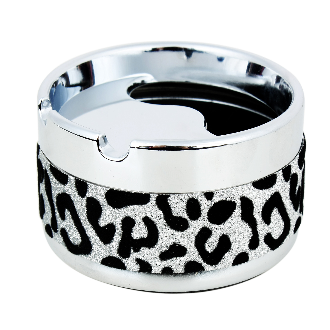 Cylinder Shape Car Cigarette Ash Holder Cup Case Ashtray Black Silver Tone