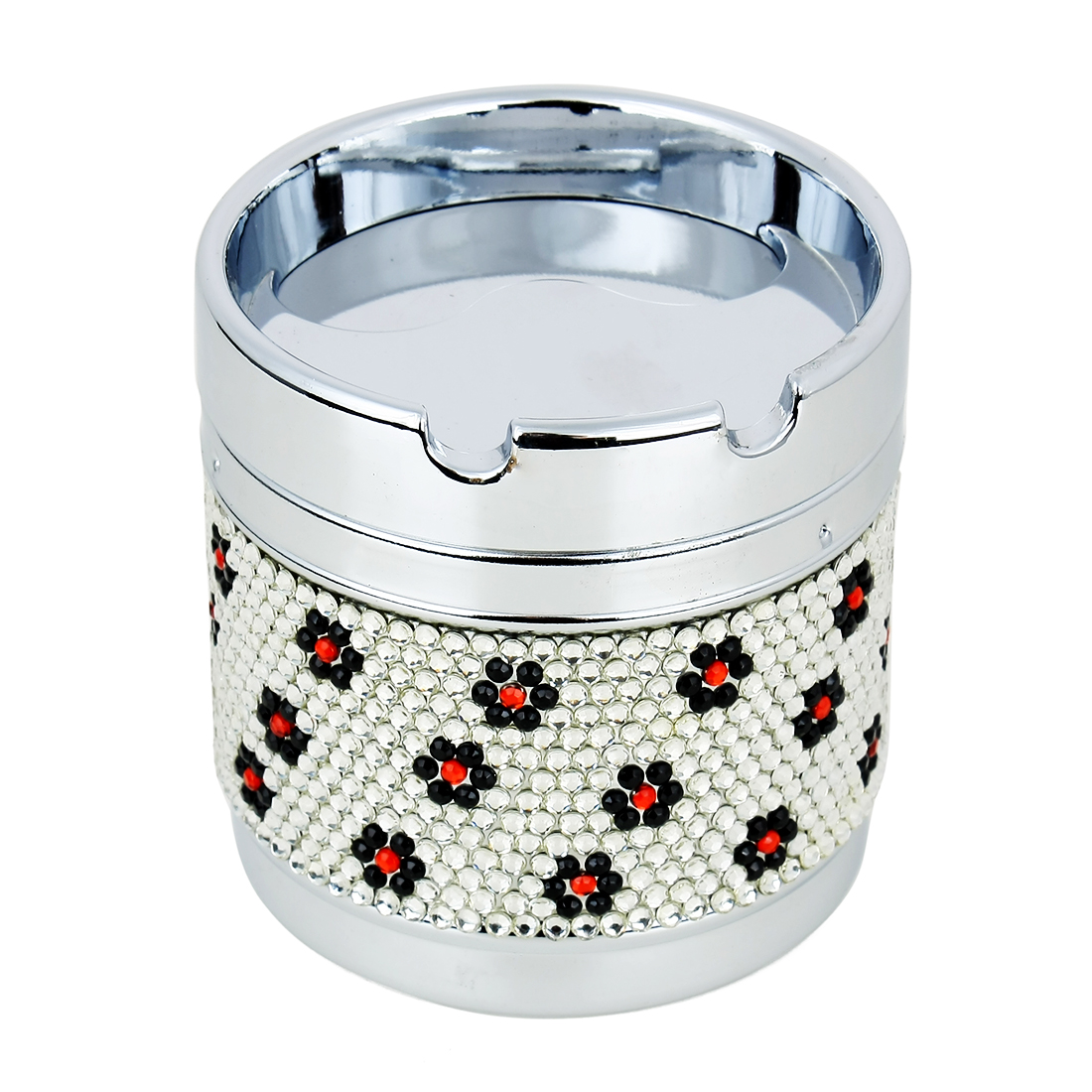 Floral Print Cylinder Shape Car Cigarette Ash Holder Cup Case Ashtray Silver Tone