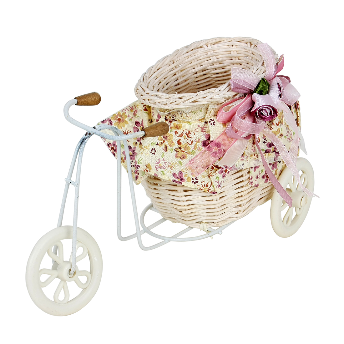 Small Bicycle Design Decoration Weave Cloth Straw Basket