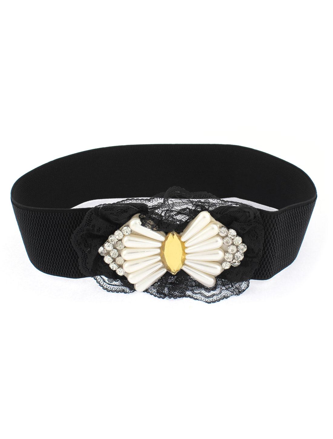 Adjustable Elastic Lace Detailing Waistband Waist Belt 6cm Width Black