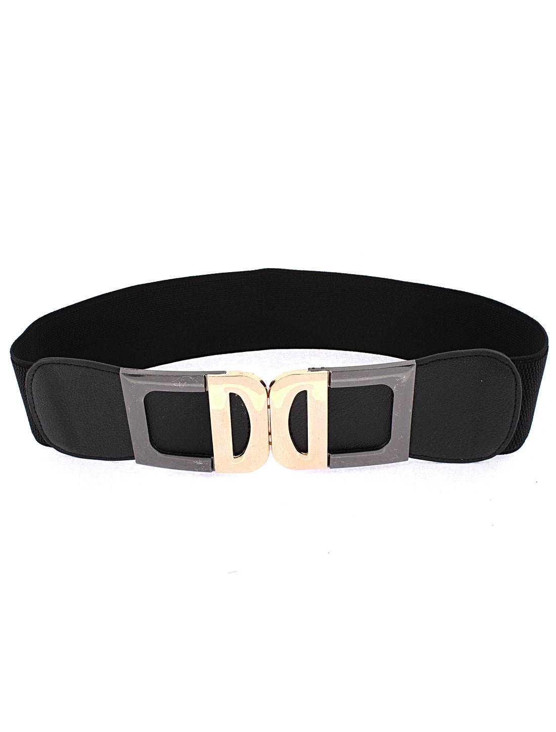 Interlocking Buckle Adjustable Elastic Wide Waistband Waist Belt Black