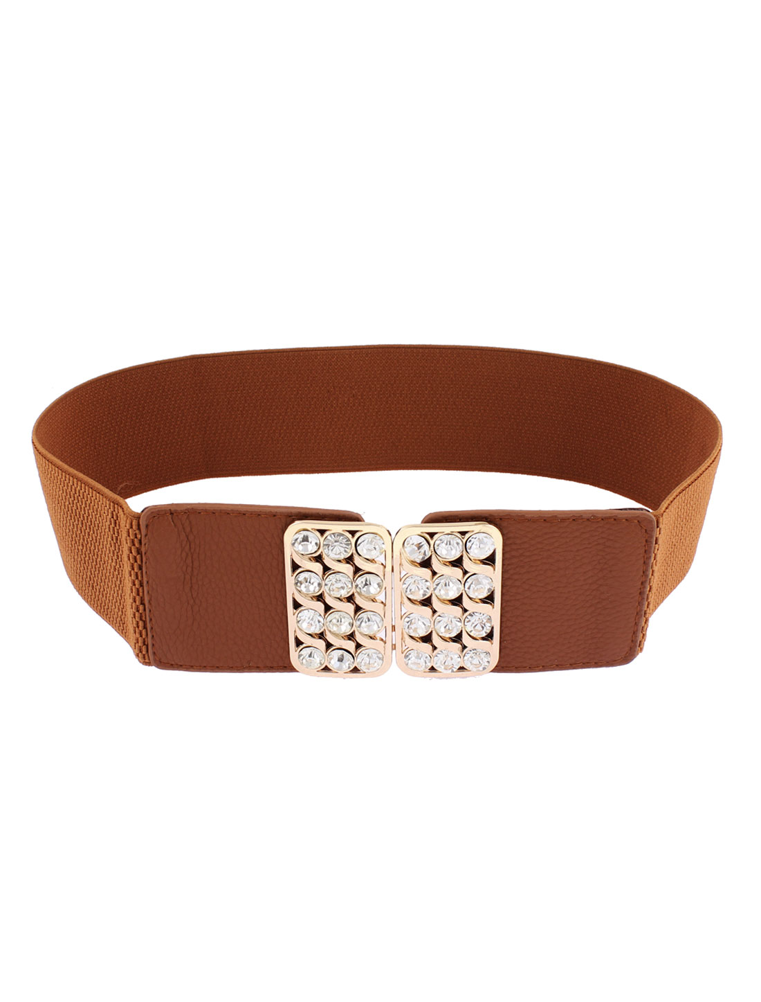 Rhinestone Detailing Adjustable Elastic Wide Waistband Waist Belt Camel Color