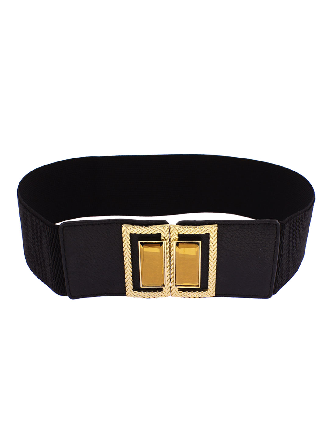 Gold Tone Buckle Adjustable Elastic Wide Waistband Waist Belt 65cm Long