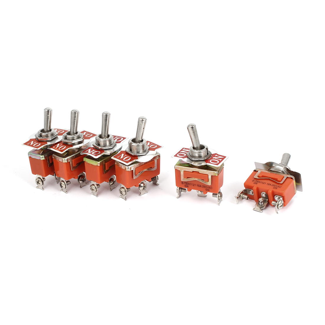 5 Pcs TEN1121 AC250V 15A SPDT ON-ON 2 Position Latching Toggle Switch Orange