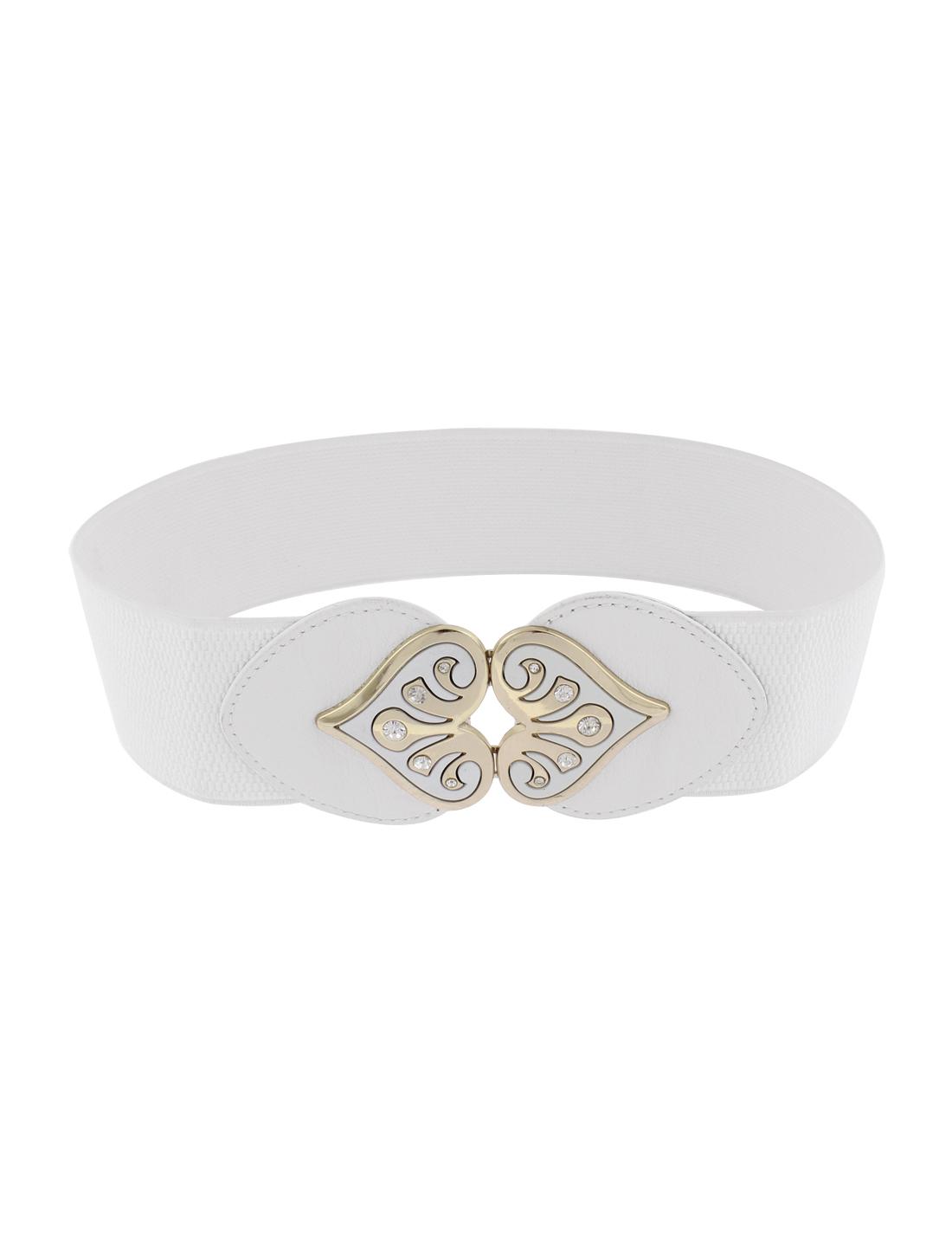 Elastic Waistband Waist Belt 6cm Wide White for Women