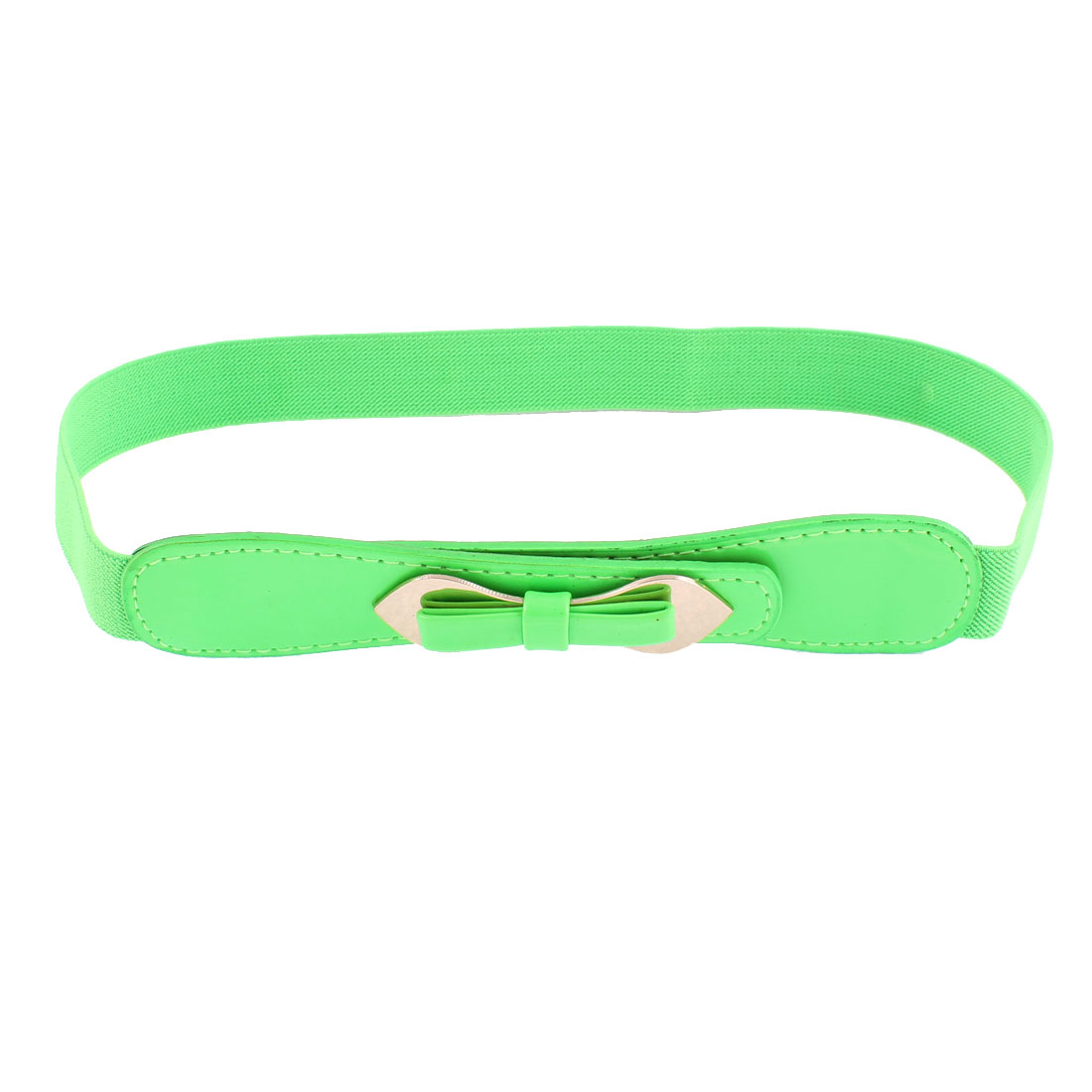 Double Pin Buckle Adjustable Elastic Waistband Waist Belt Green
