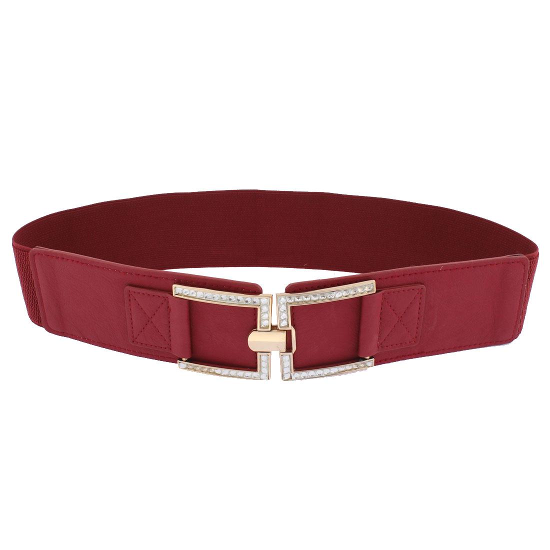 Women Adjustable Elastic Wide Waistband Waist Belt Burgundy