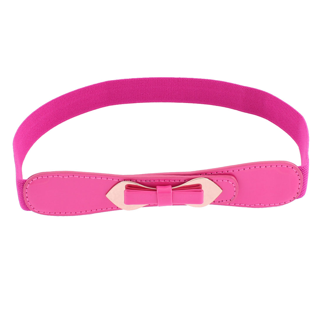 Double Pin Buckle Adjustable Elastic Waistband Waist Belt Fuschia