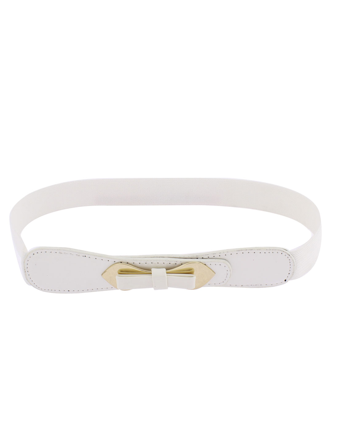 Double Pin Buckle Adjustable Elastic Waistband Waist Belt White