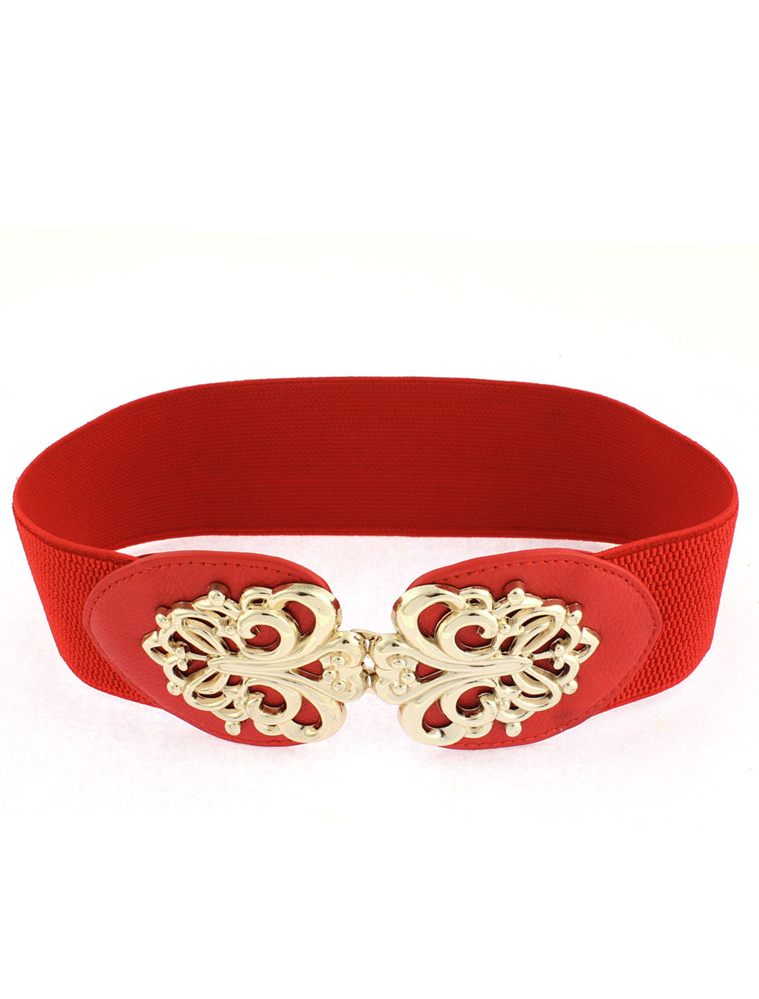 Women Interlocking Buckle Adjustable Elastic Wide Waistband Waist Belt Red