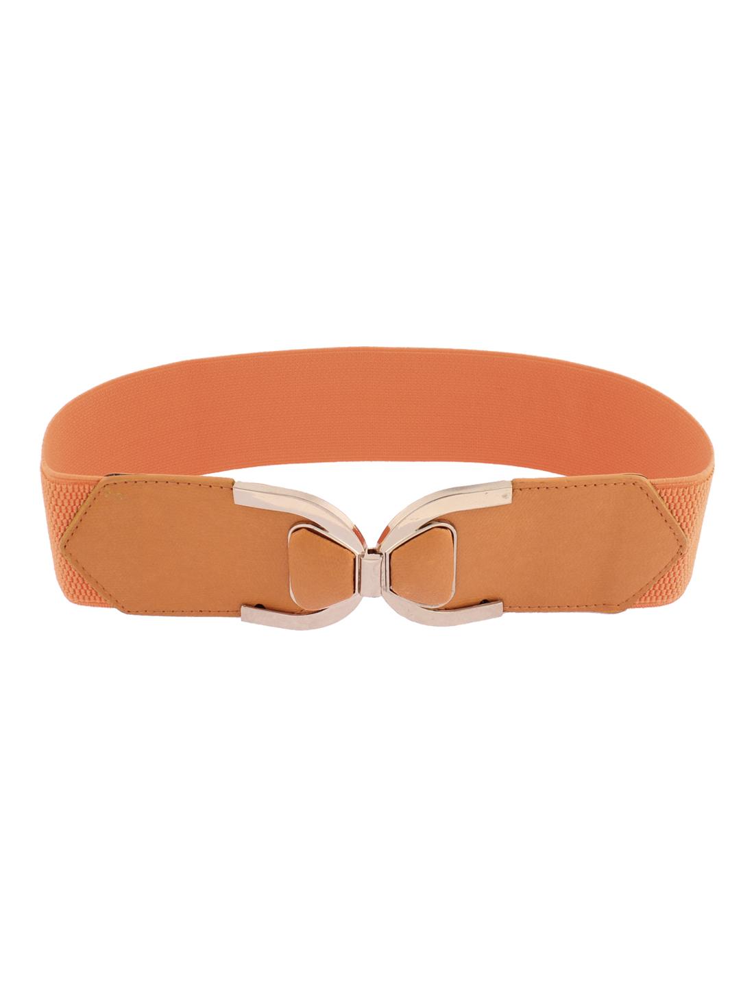 Gold Tone Buckle Wide Stretch Elastic Waist Belt Waistband for Women