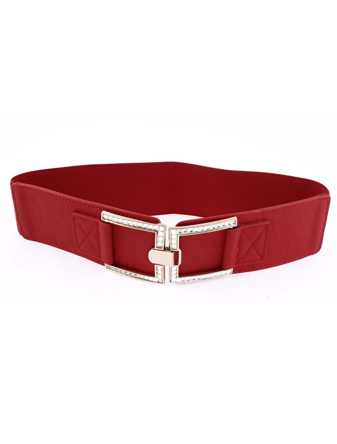 Women Interlocking Buckle Elastic Stretch Cinch Waist Belt Red 6cm Width