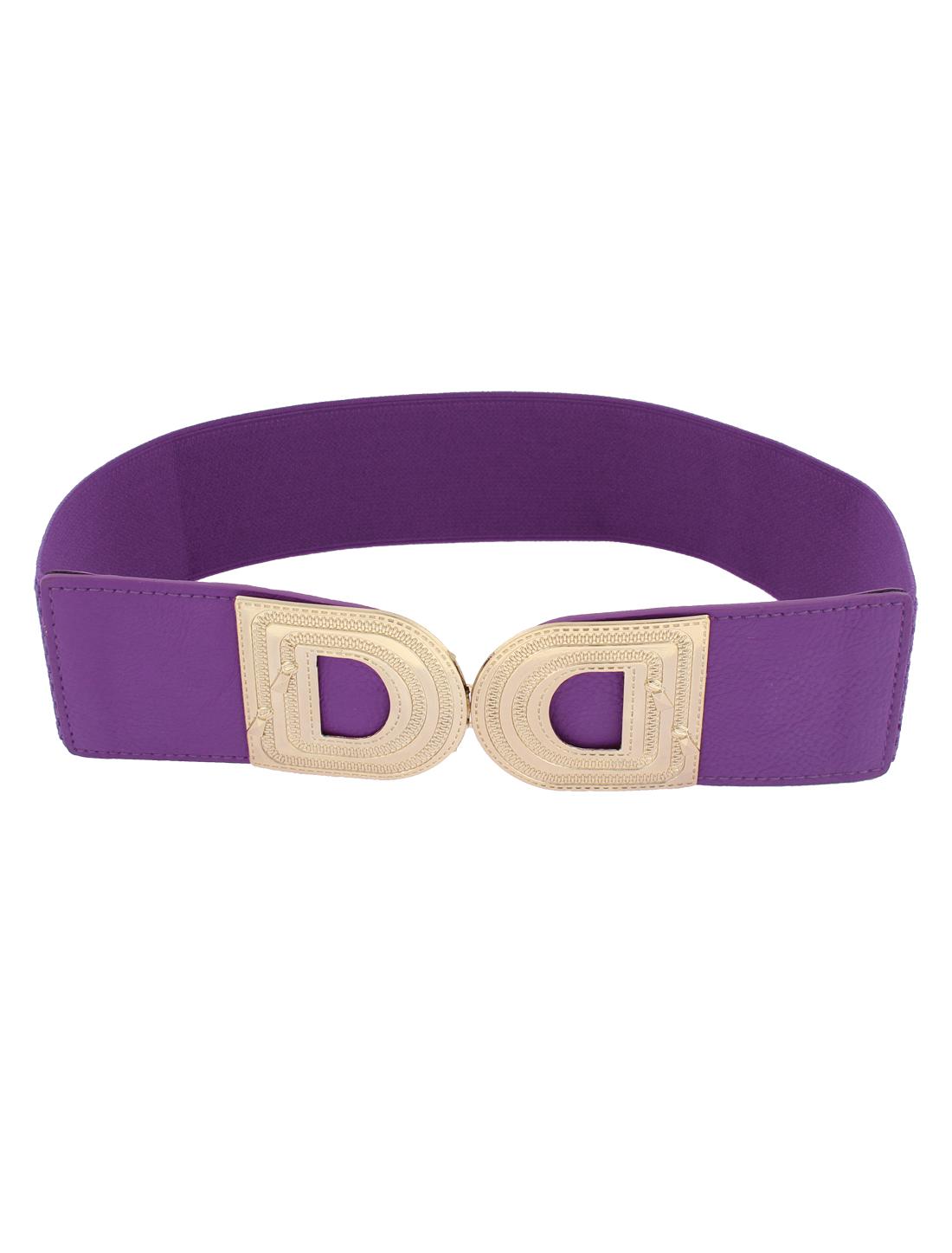 Metal Buckle Adjustable Elastic Wide Waistband Waist Belt Purple