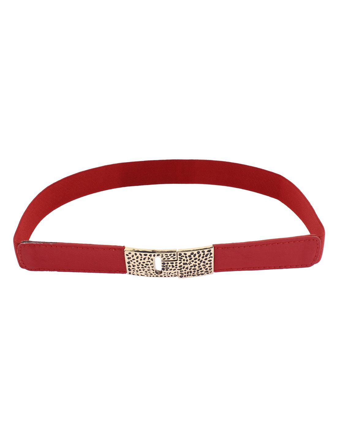 Interlocking Buckle Narrow Waist Belt Waistband 1 Inch Width Red for Lady