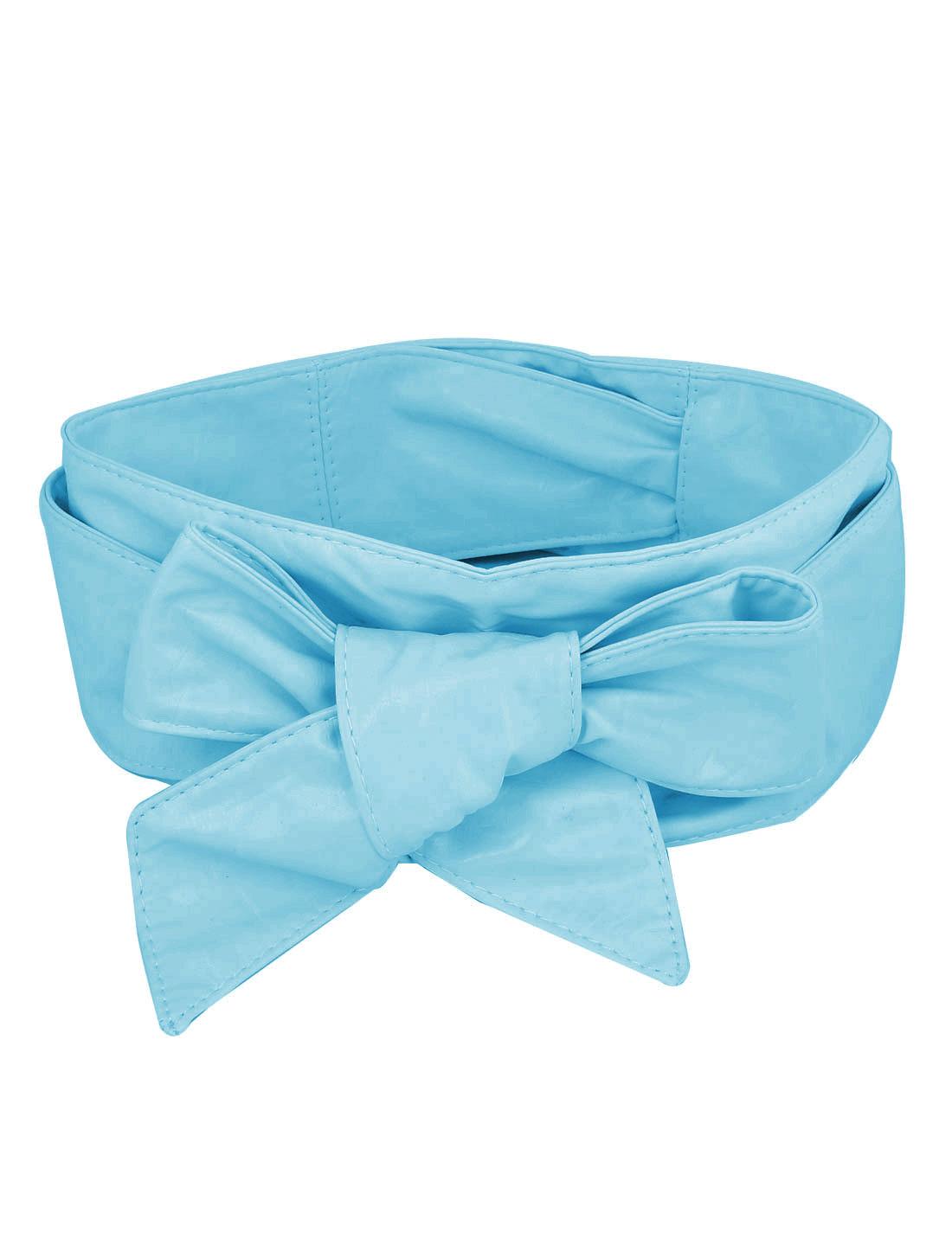 Lady Faux Leather Corset Cinch Waistband Belt Strap Blue