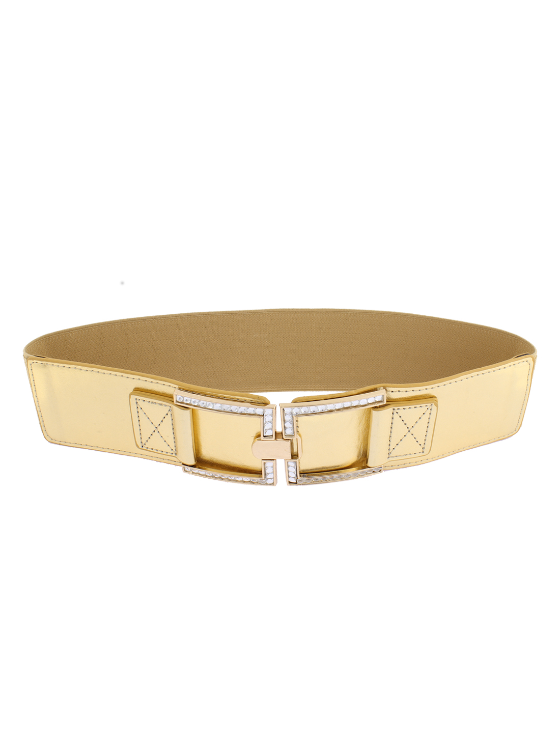 Adjustable Elastic Wide Waistband Waist Belt Gold Tone for Lady