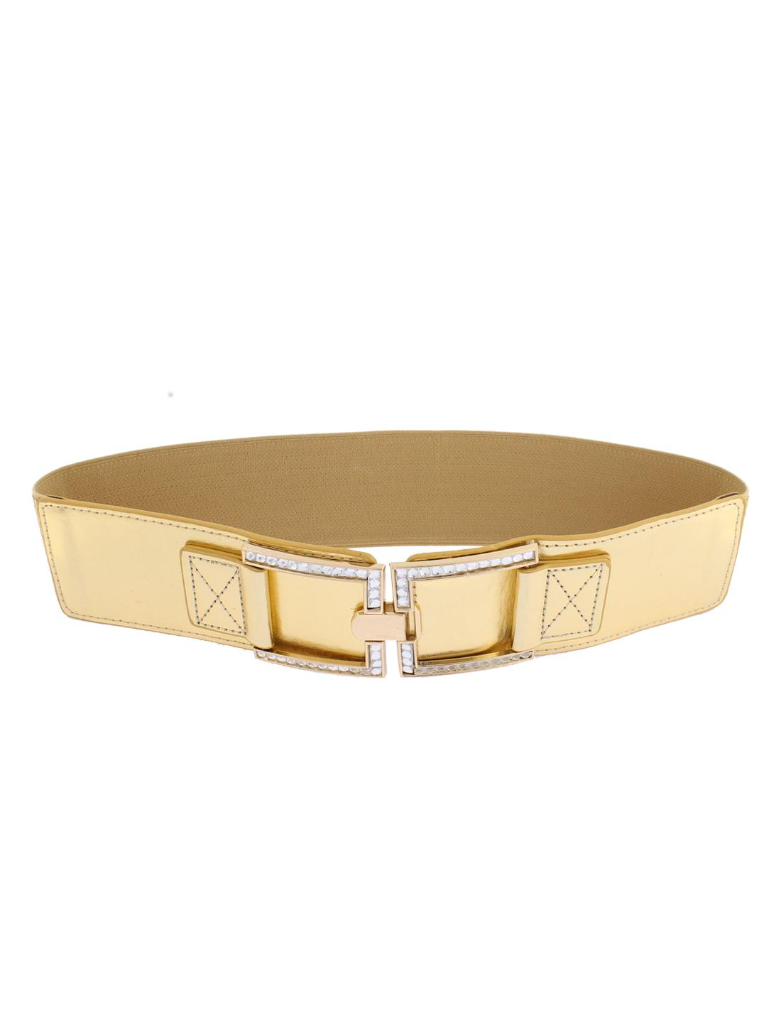 Adjustable Elastic Wide Waistband Waist Belt Gold Tone for Lady