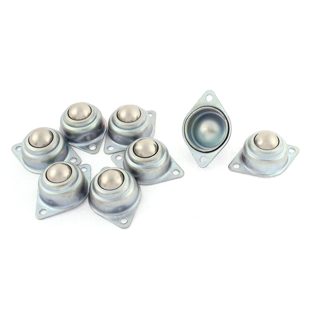 8pcs Eye Shape Flange Mounting Roller Ball Transfer Unit Bearing Silver Tone