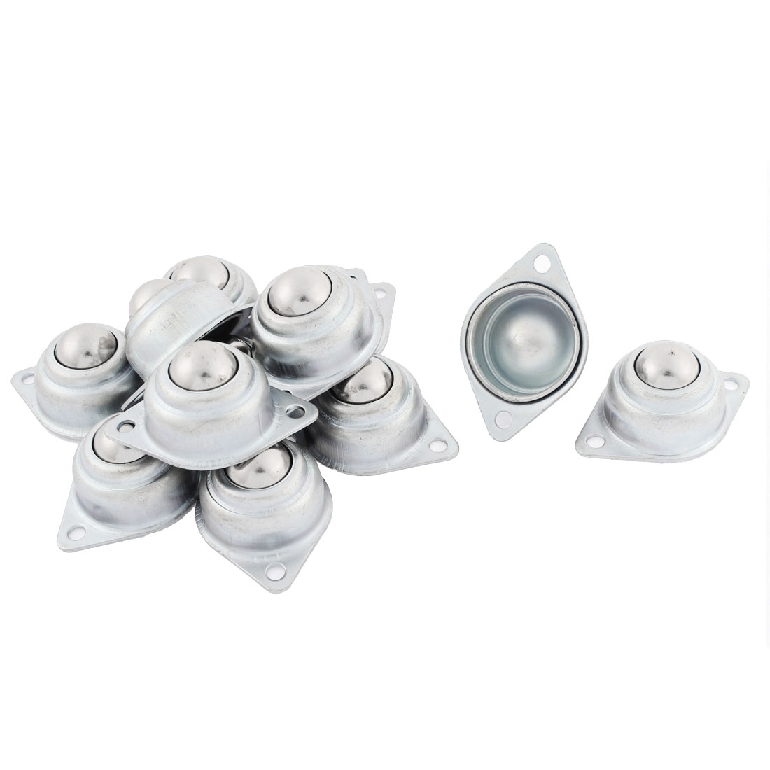 12 Pcs Eye Shape Flange Mounting Roller Ball Transfer Unit Bearing Silver Tone