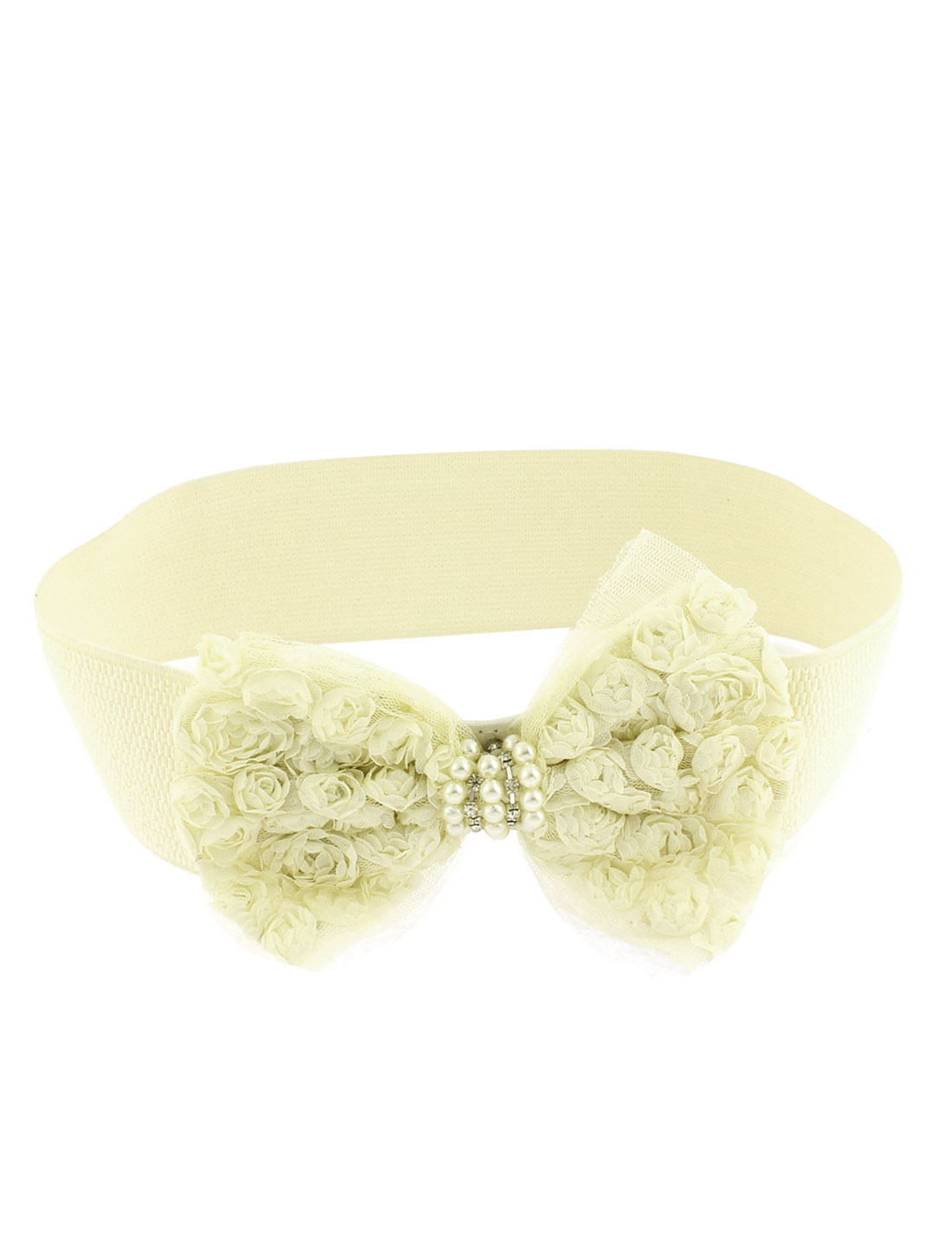Lady Bowknot Detailing Elastic Wide Stretch Buckle Waistband Waist Belt