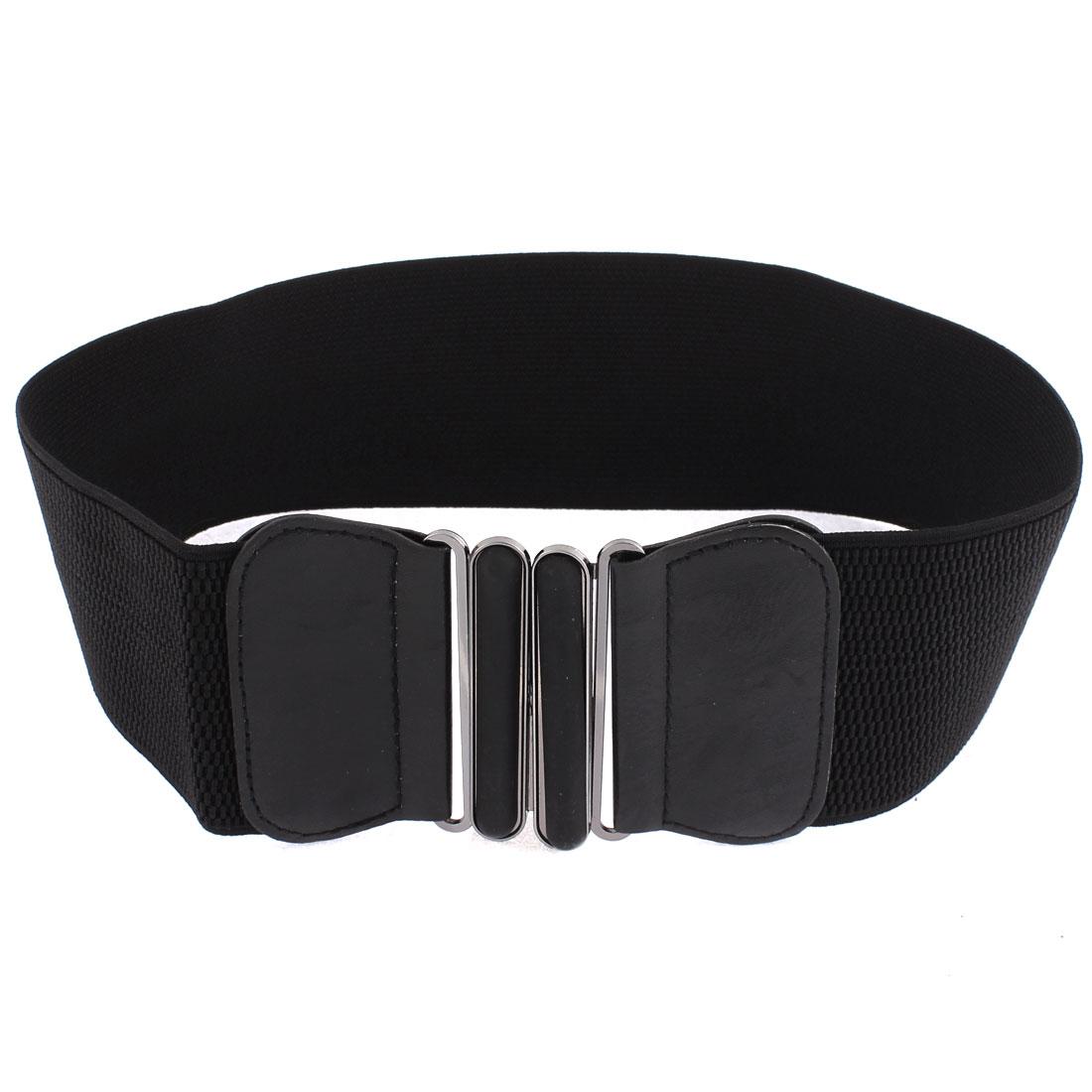 Adjustable Elastic Wide Waistband Waist Belt 61cm Long Black for Lady