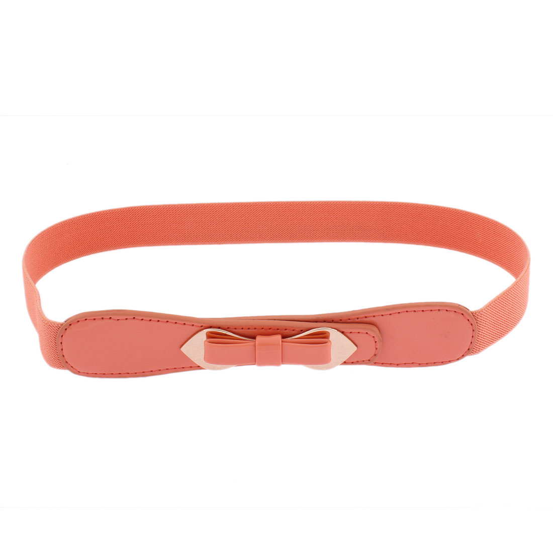 Double Pin Buckle Adjustable Elastic Waistband Waist Belt Coral Pink