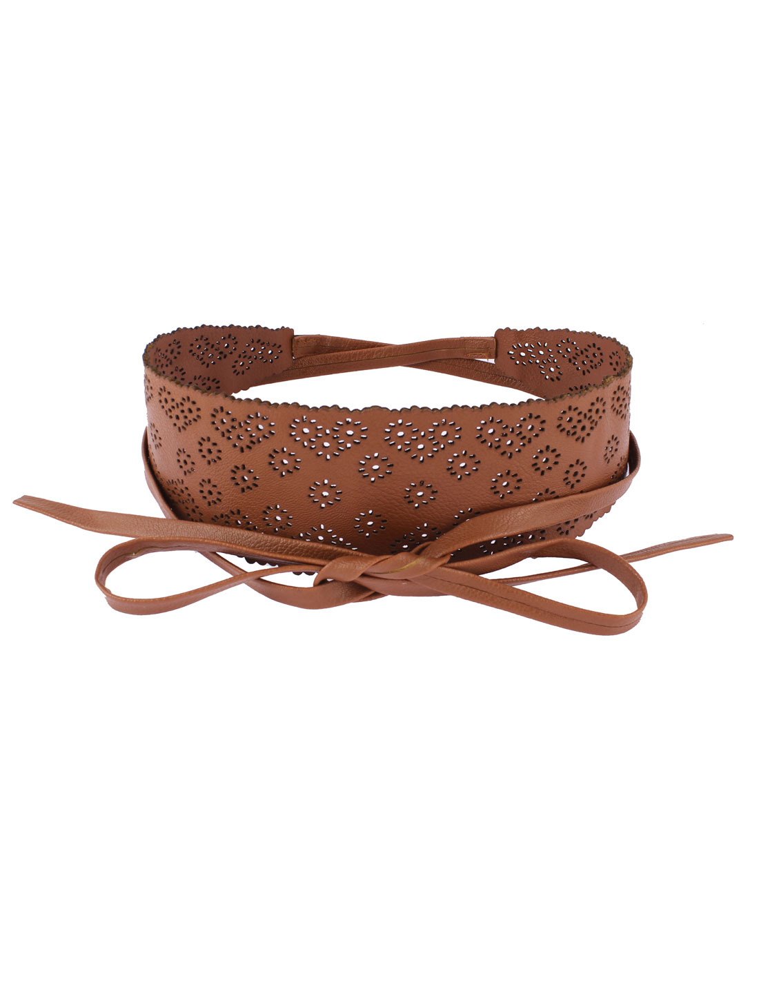 Lady Dress Hollow Out Design Waist Belt Coffee Color