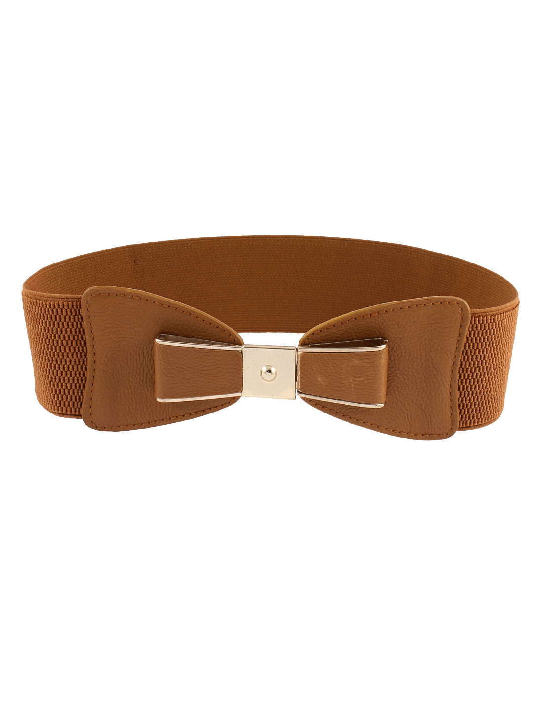 Lady Bowknot Design Interlocking Buckle Elastic Waist Belt Camel Color