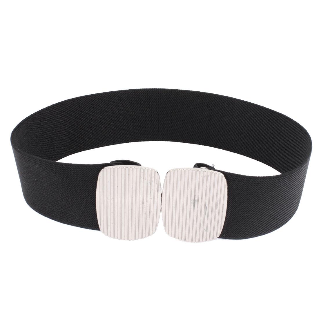 Women Metal Interlock Buckle Elastic Cinch Waist Belt Black