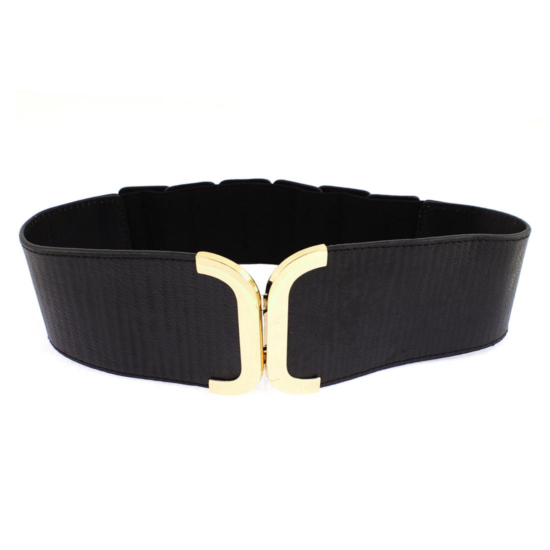 Adjustable Elastic Wide Waistband Waist Belt Black for Lady